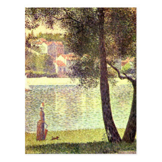 The Seine at Courbevoie by Georges Seurat Postcard