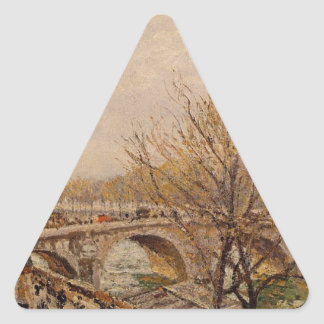 The Seine at Paris, Pont Royal by Camille Pissarro Triangle Sticker