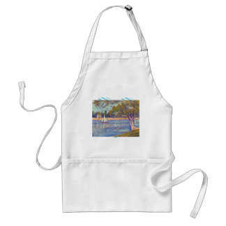 The Seine at the Grand Jatte, Spring by Seurat Adult Apron