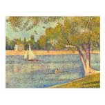 The Seine at the Grand Jatte, Spring by Seurat Post Card