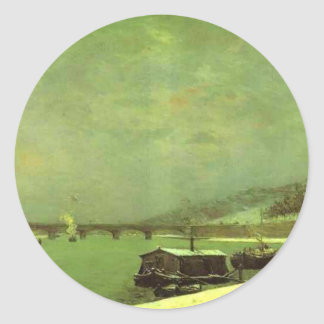 The Seine at the Pont d'Iena by Paul Gauguin Classic Round Sticker