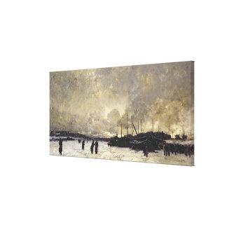 The Seine in December, 1879 Gallery Wrap Canvas
