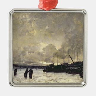 The Seine in December, 1879 Metal Ornament