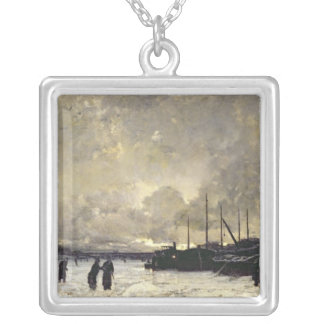 The Seine in December, 1879 Silver Plated Necklace