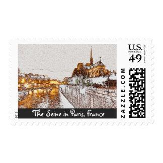 The Seine in Paris, France Stamp