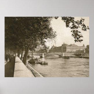 The Seine, Paris, France Vintage print