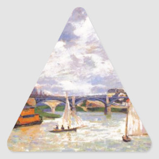 The Seine river at Charenton by Armand Guillaumin Triangle Sticker
