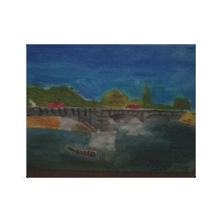 The Seine with the Pont de la Grande Jette, Paris Canvas Print