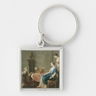 The Seller of Loves, 1763 Silver-Colored Square Keychain