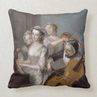 The Sense of Hearing, c.1744-7 (oil on canvas) Throw Pillow