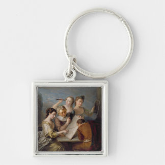 The Sense of Sight, c.1744-47 (oil on canvas) Silver-Colored Square Keychain