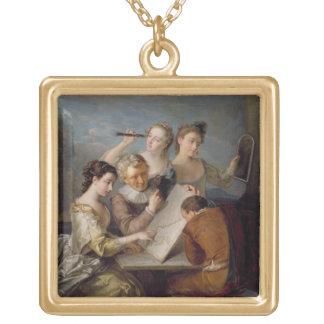 The Sense of Sight, c.1744-47 (oil on canvas) Square Pendant Necklace