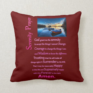 The Serenity Prayer Boat Dock Throw Pillow