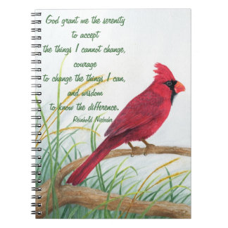 The Serenity Prayer - Bright Red Cardinal Notebook