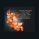 """&quot;The serenity prayer&quot; Canvas Print<br><div class=""""desc"""">&quot;The serenity prayer&quot; inspirational quote with beautiful canna lilies and monarch butterflies on black background. Image and illustration composition. &quot;Serenity Prayer&quot; written by Reinhold Niebuhr (1892-1971)The verse reads, &quot;GOD, grant me the serenity to accept the things I cannot change, Courage to change the things I can, and the wisdom to...</div>"""