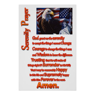 The Serenity Prayer Eagle Head Poster