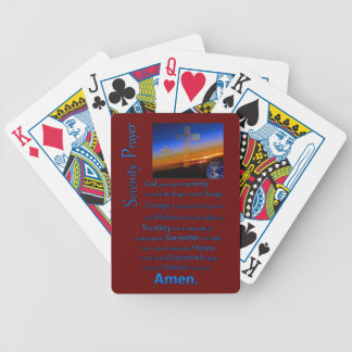 The Serenity Prayer In Space Blue Bicycle Playing Cards