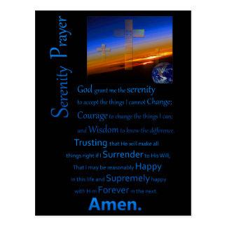 The Serenity Prayer In Space Blue Postcard