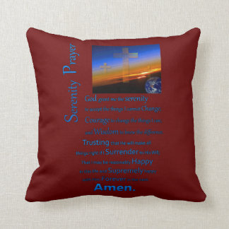 The Serenity Prayer In Space Blue Throw Pillow