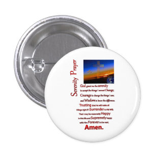The Serenity Prayer In Space Red 1 Inch Round Button