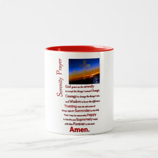 The Serenity Prayer In Space Red Two-Tone Coffee Mug