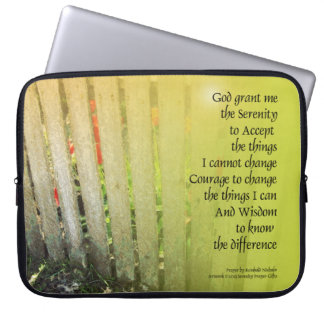 The Serenity Prayer Old Fence Red Tulips Computer Sleeve