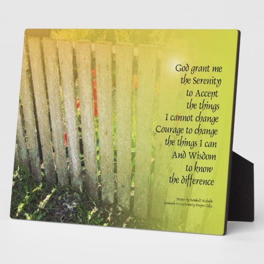 The Serenity Prayer Old Fence Red Tulips Plaque