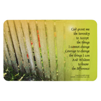 The Serenity Prayer Old Fence Red Tulips Rectangular Photo Magnet