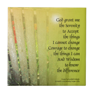 The Serenity Prayer Old Fence Red Tulips Tile