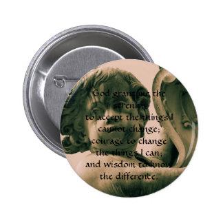 The Serenity Prayer on vintage angel photograph Pinback Button
