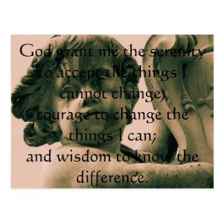 The Serenity Prayer on vintage angel photograph Postcard