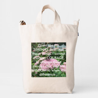 """""""The Serenity Prayer"""" Pink Flowers Butterfly Duck Bag"""