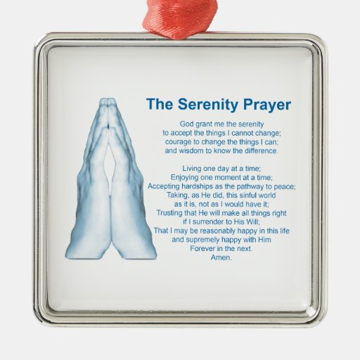 The Serenity Prayer (praying hands) 4 Square Metal Christmas Ornament
