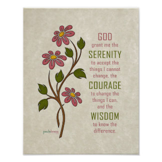 The Serenity Prayer (Recovery Quote) Poster