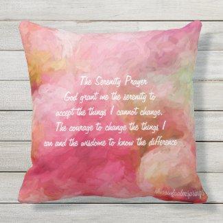 The Serenity Prayer.Rose pillow.20x20 Outdoor Pillow
