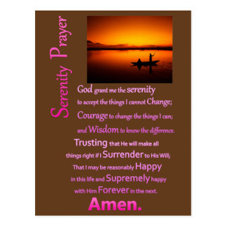 The Serenity Prayer Silhouette Big Catch Postcard