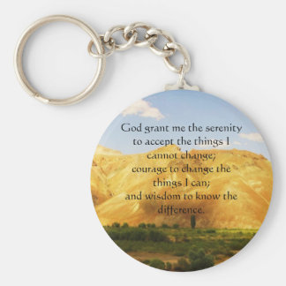 The Serenity Prayer with beautiful mountain photo Keychain