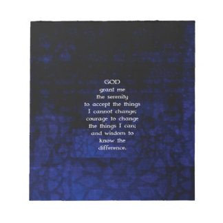 The Serenity Prayer With Blue Background Memo Note Pad