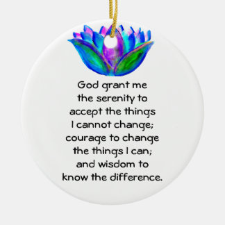 The Serenity Prayer with Colorful Lotus Blossom Ceramic Ornament