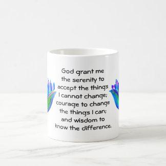 The Serenity Prayer with Colorful Lotus Blossom Coffee Mug