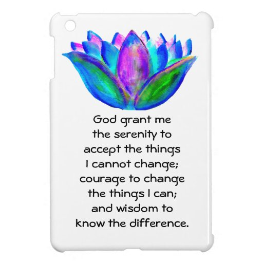The Serenity Prayer with Colorful Lotus Blossom iPad Mini Covers