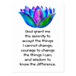 The Serenity Prayer with Colorful Lotus Blossom Postcard
