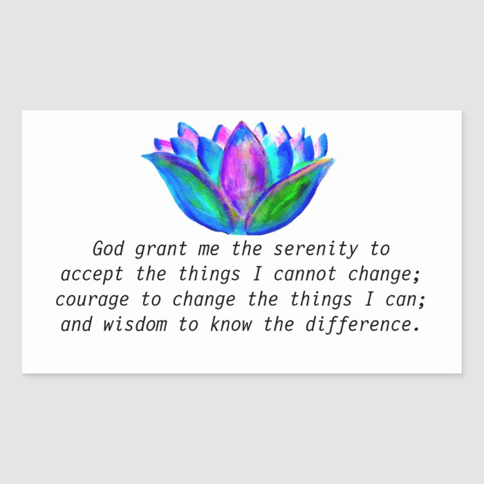 The Serenity Prayer with Colorful Lotus Blossom Rectangular Sticker
