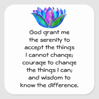 The Serenity Prayer with Colorful Lotus Blossom Square Sticker
