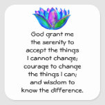 The Serenity Prayer with Colorful Lotus Blossom Sticker
