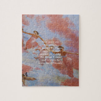 The Serenity Prayer With Flying Angels Painting Jigsaw Puzzle