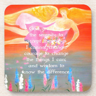 The Serenity Prayer with Folk Art Angel Painting Beverage Coasters