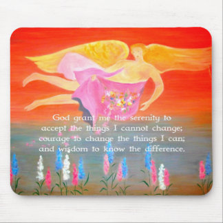 The Serenity Prayer with Folk Art Angel Painting Mouse Pad