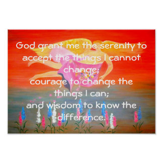 The Serenity Prayer with Folk Art Angel Painting Poster