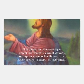The Serenity Prayer With Jesus Christ Painting Rectangular Sticker